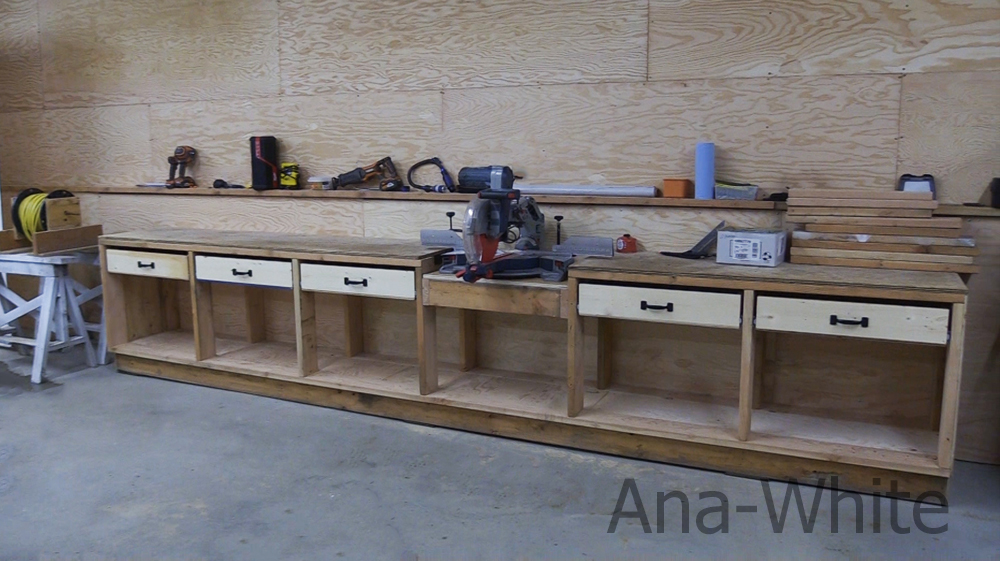 diy garage workbench with drawers