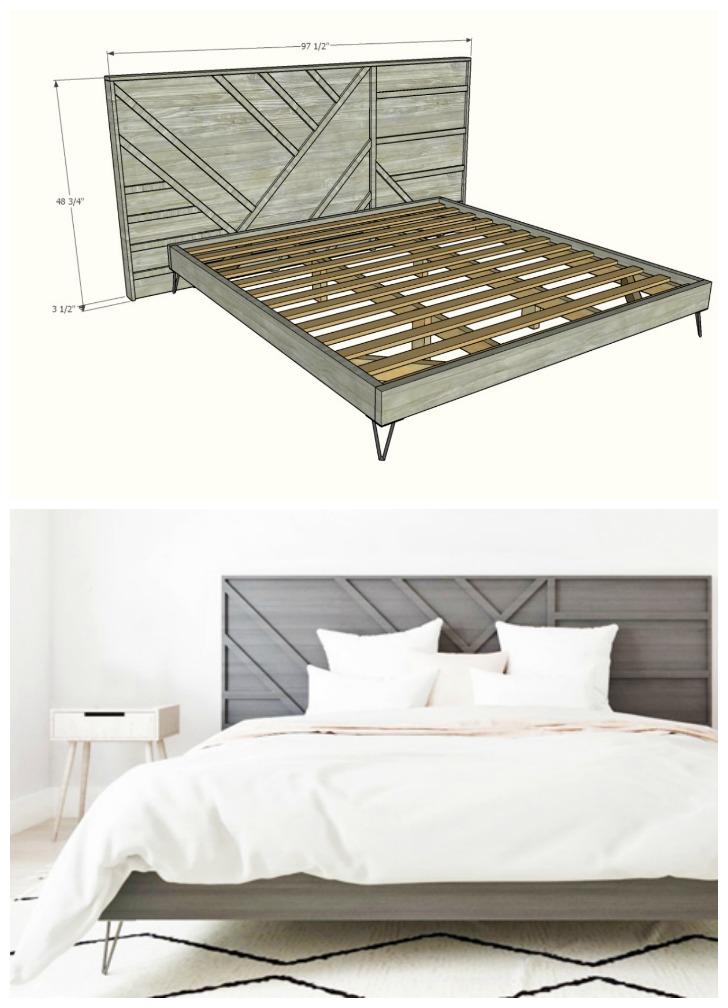 modern geo bed frame