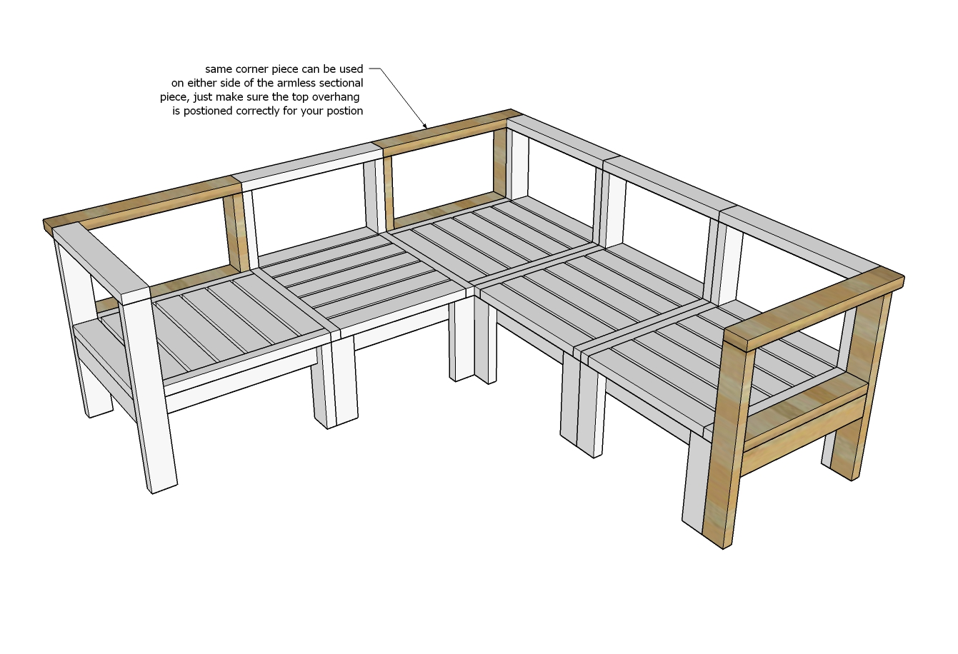 diagram of outdoor sectional piece with corner modification
