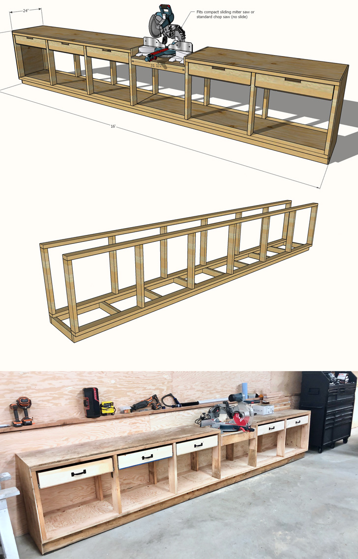 workbench with drawers easy to build