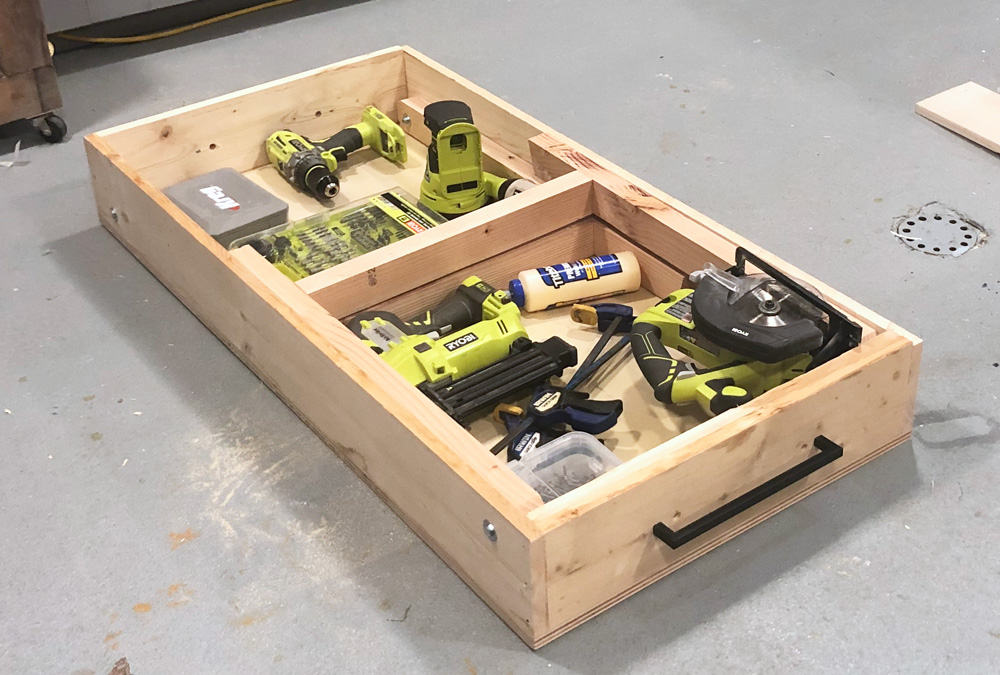 portable workbench folded flat