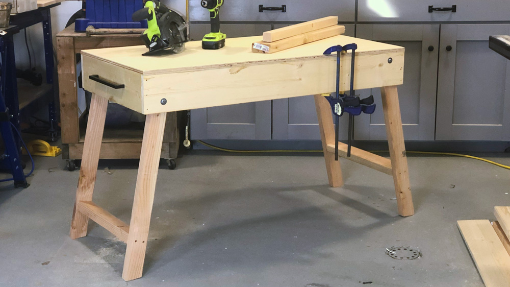 portable workbench folded out