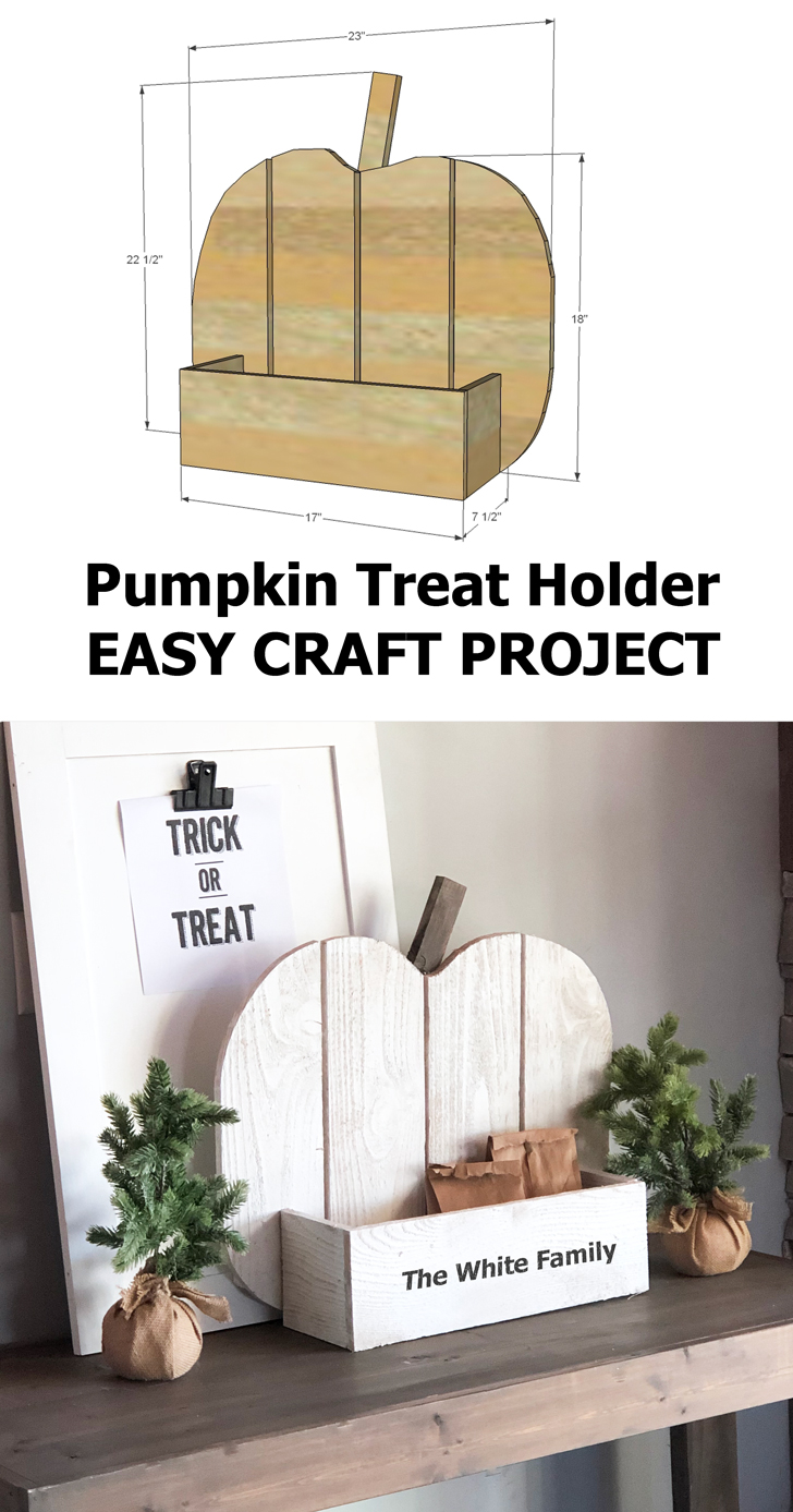 trick or treat candy holder wood pumpkin