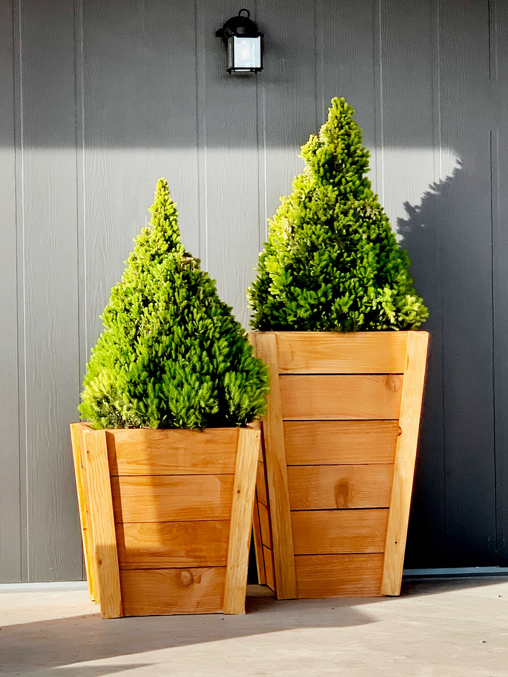 tall wood planters