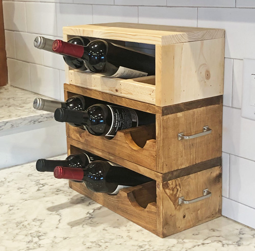wood wine holder stacked up