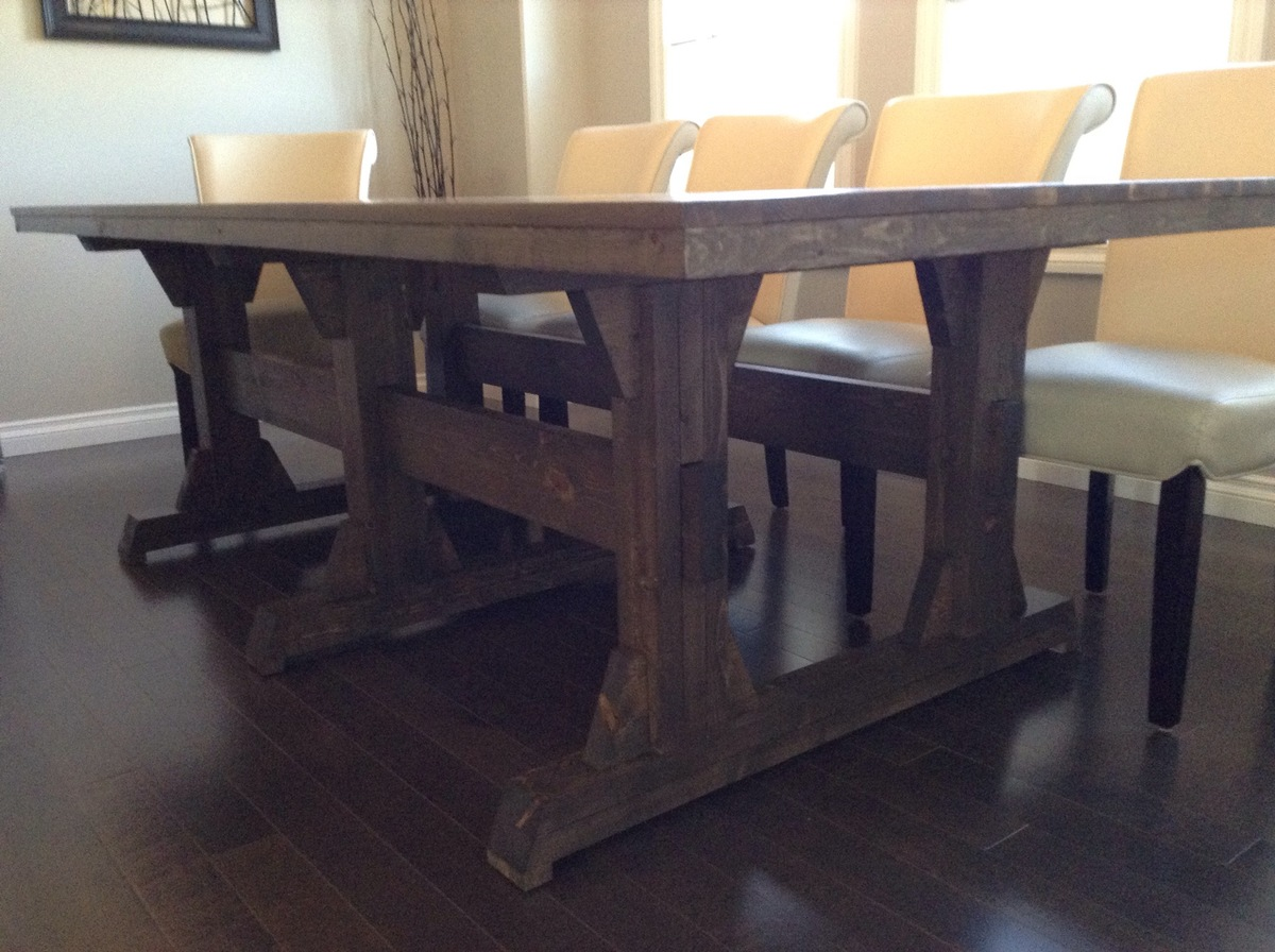Ana white leave it to joy triple pedestal wide farmhouse for Ana white x dining room table