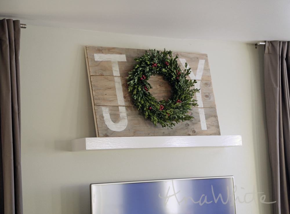 Wall Decor Christmas Diy : Ana white joy holiday sign christmas wall art diy projects