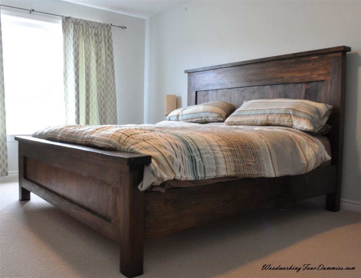 Ana white king farmhouse bed diy projects for Farmhouse style bed