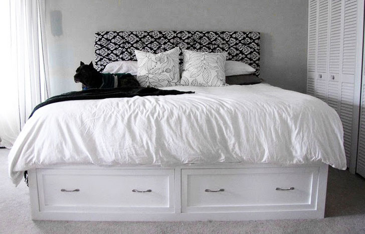 platform style diy king storage bed easy to build