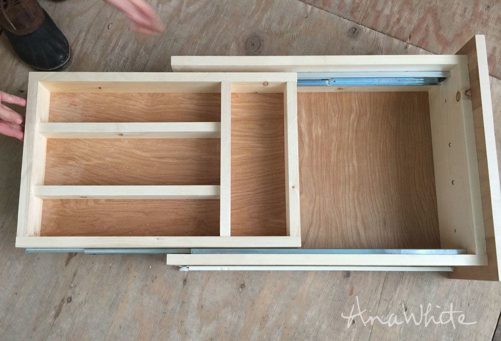 Ana white kitchen drawer organizer adding a double for Adding drawers to existing kitchen cabinets
