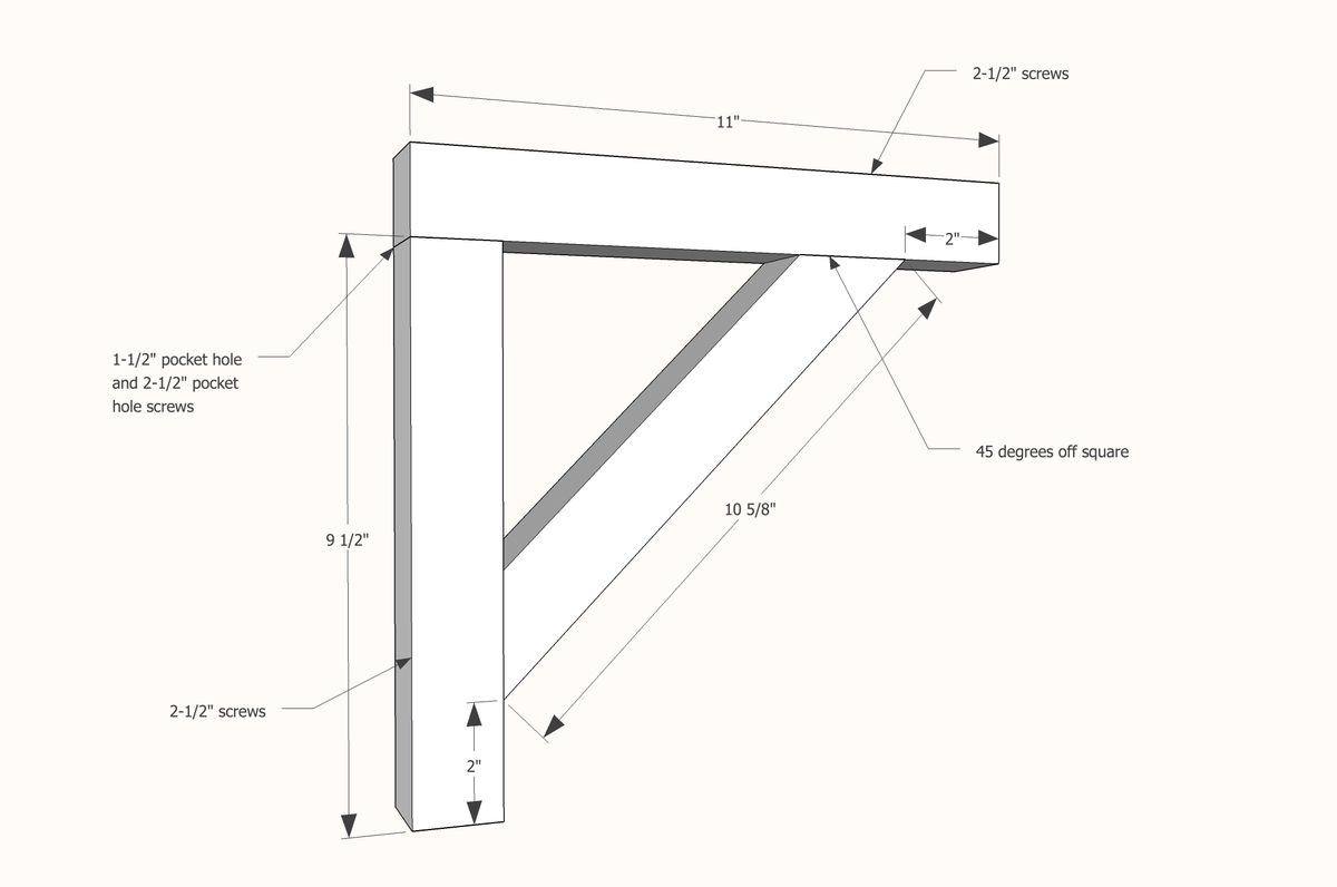 step 1 build shelf brackets as shown above you ll need a shelf bracket ...
