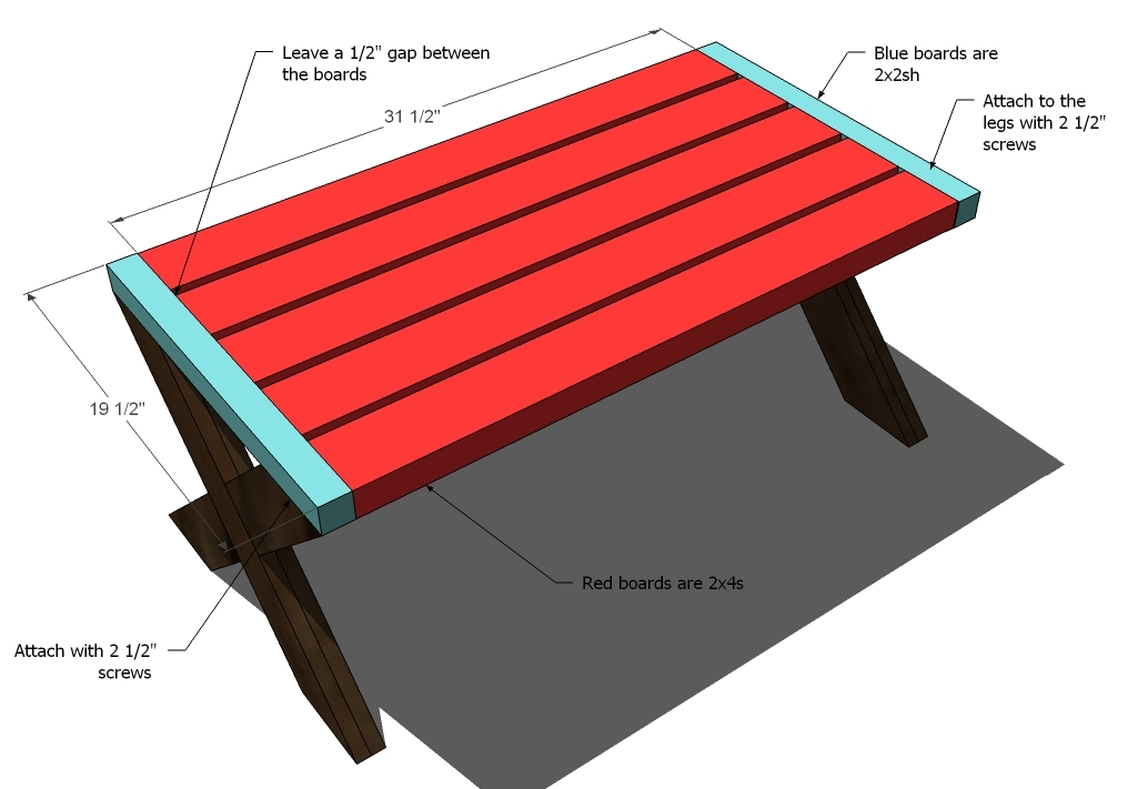 Ana White | Build A Modern Kid's Picnic Table, or X Benches - DIY ...