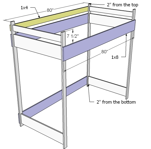 Ana white how to build a loft bed diy projects Loft bed plans
