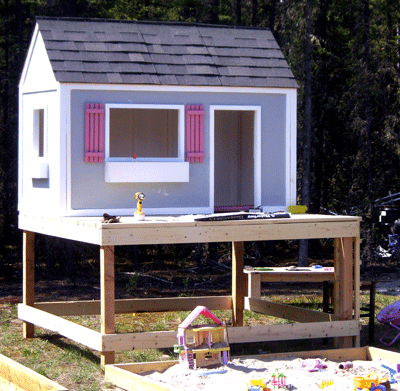 Build A Simple Playhouse Deck Ana White