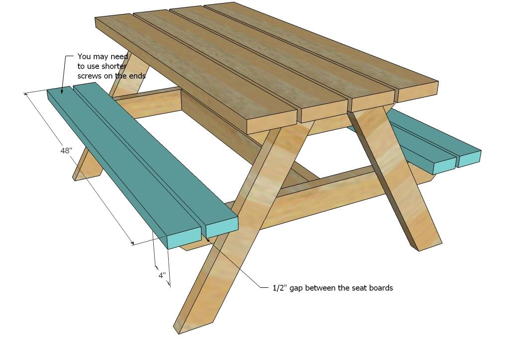 Build A Bigger Kids Picnic Table Plans Ana White