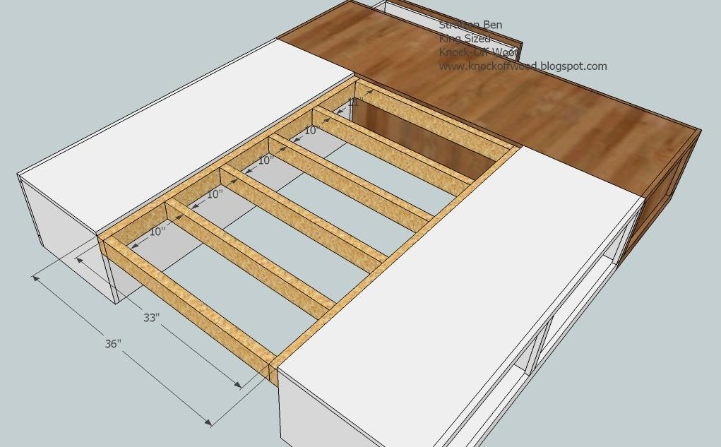 Here diy king bed frame plans drop work - How to build a queen size bed frame with drawers ...