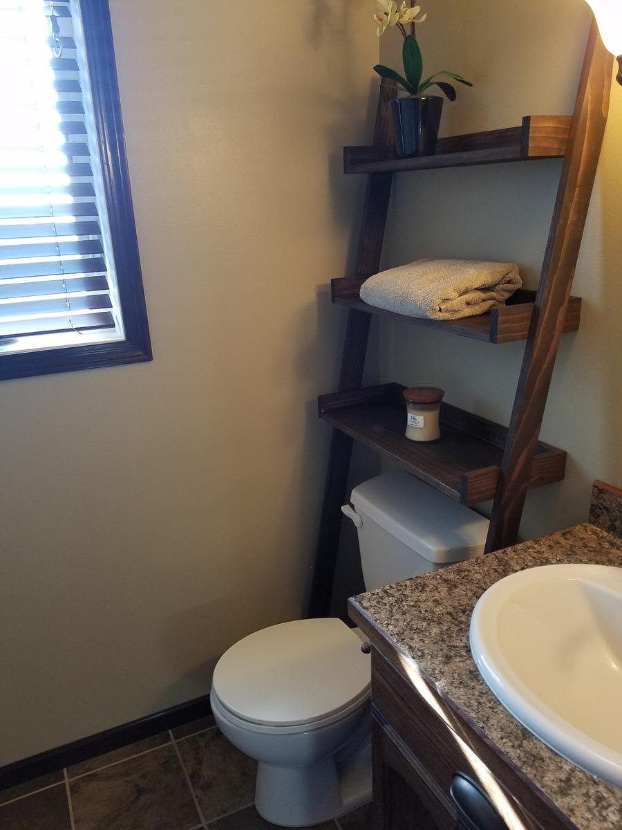 Leaning Bathroom Ladder Over Toilet Shelf Ana White