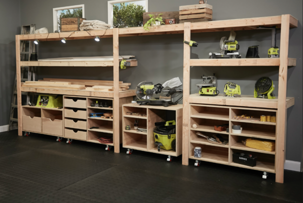 Garage Storage Shelving For Workbench   Tools Slide Underneath. Free Plans  By Ana White.com