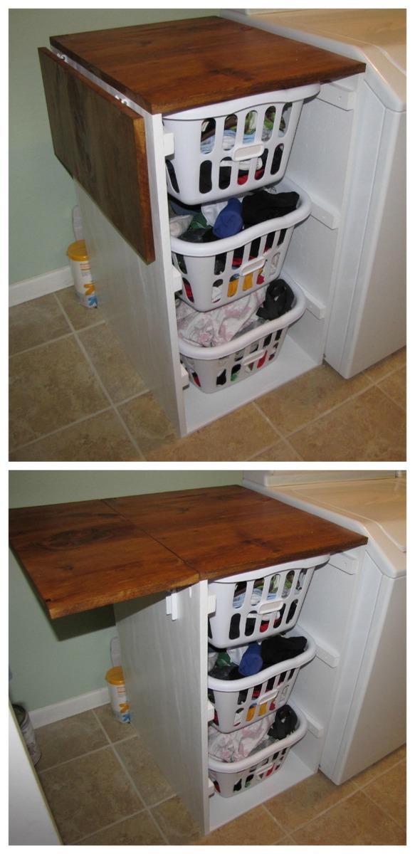 Finest Ana White | Laundry Cabinets - Shorter Brook laundry basket  KP02