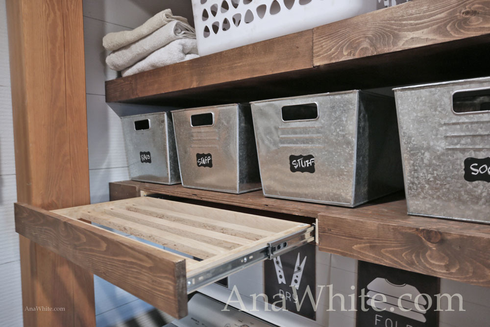 Ana White | Floating Shelves Pull Out Drying Racks And Hanging Rods   DIY  Projects