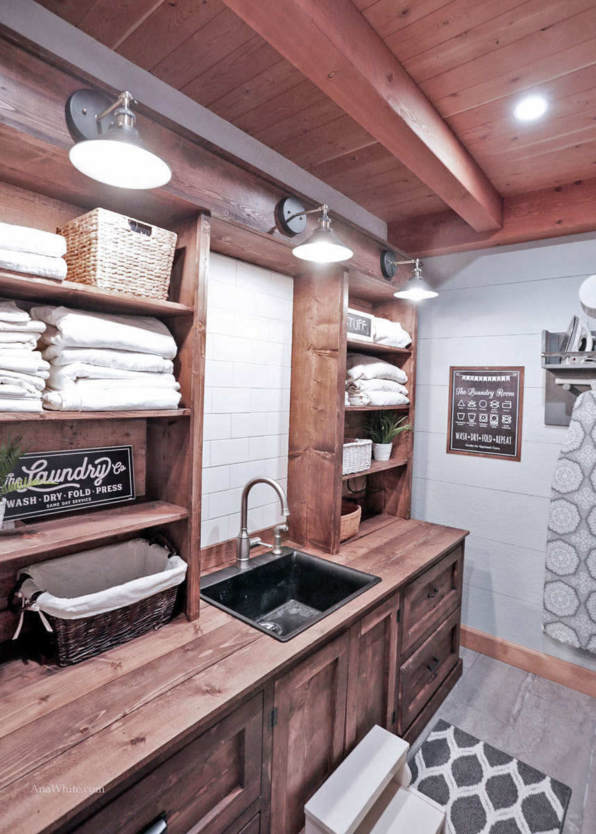 Design For Cabinet For Room: Rustic Laundry Room Cabinet With Hutch - DIY
