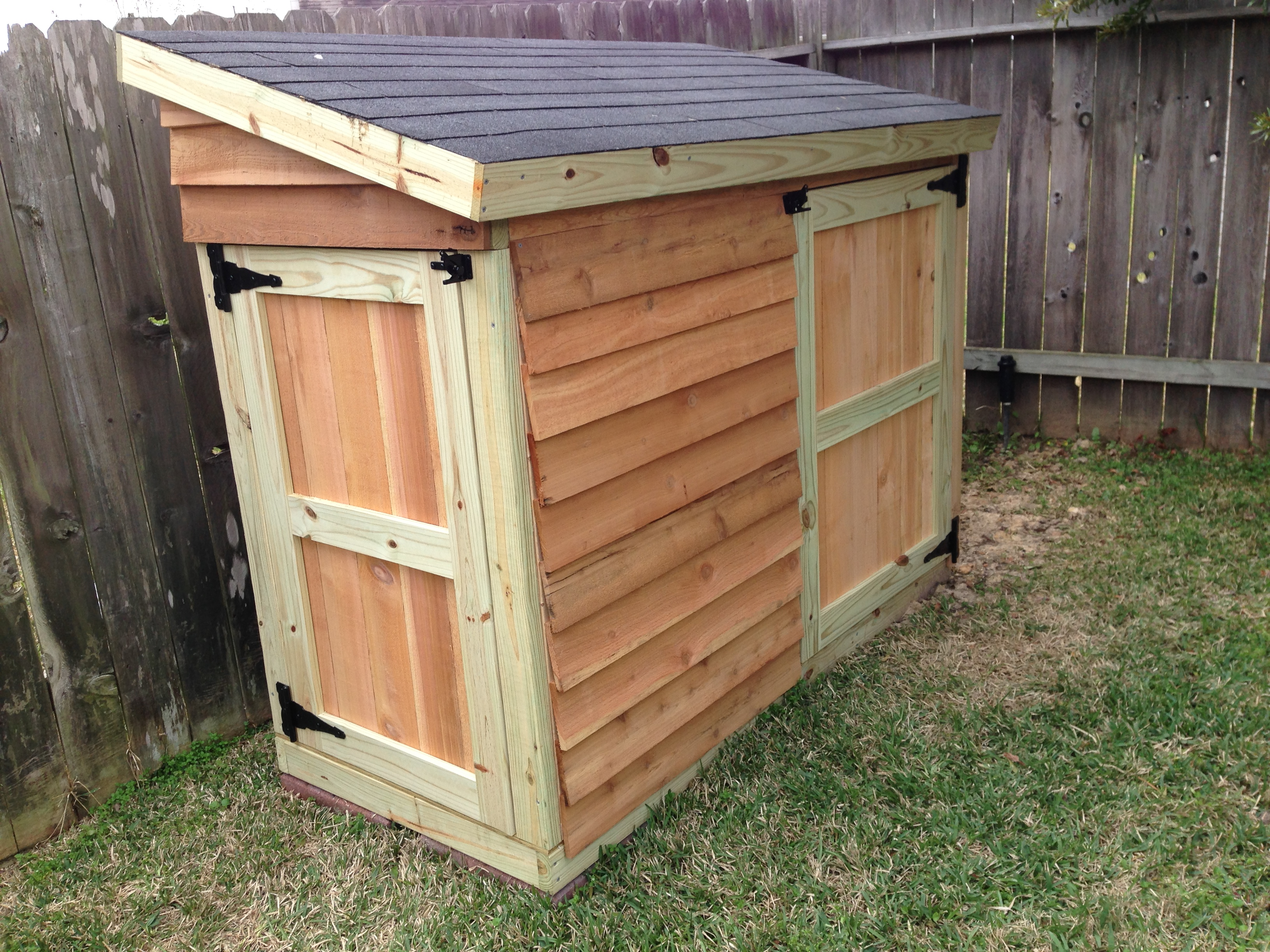 Ana white lawnmower shed diy projects for Garden shed small
