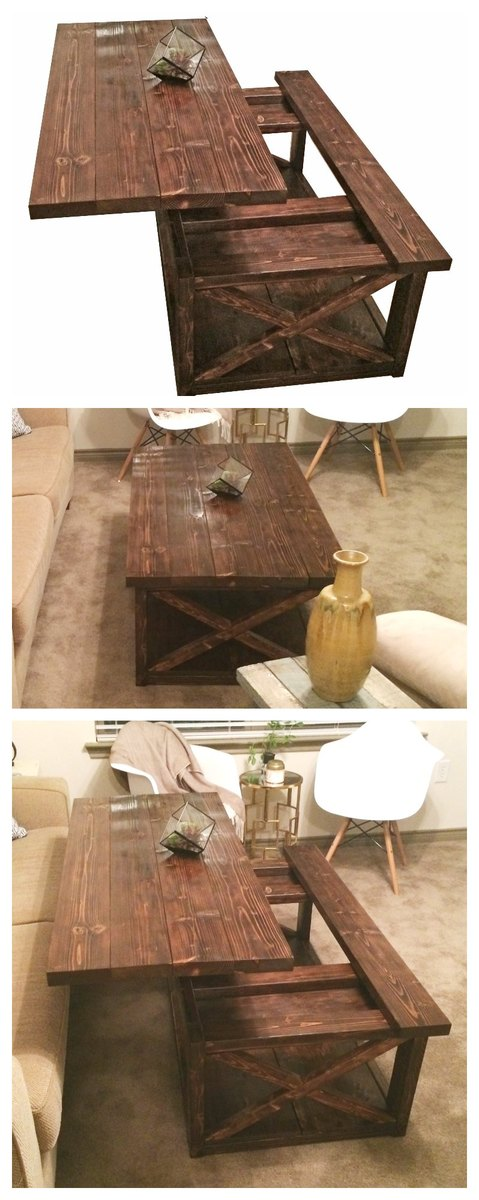 Ana white diy lift top coffee table rustic x style Pictures of rustic furniture