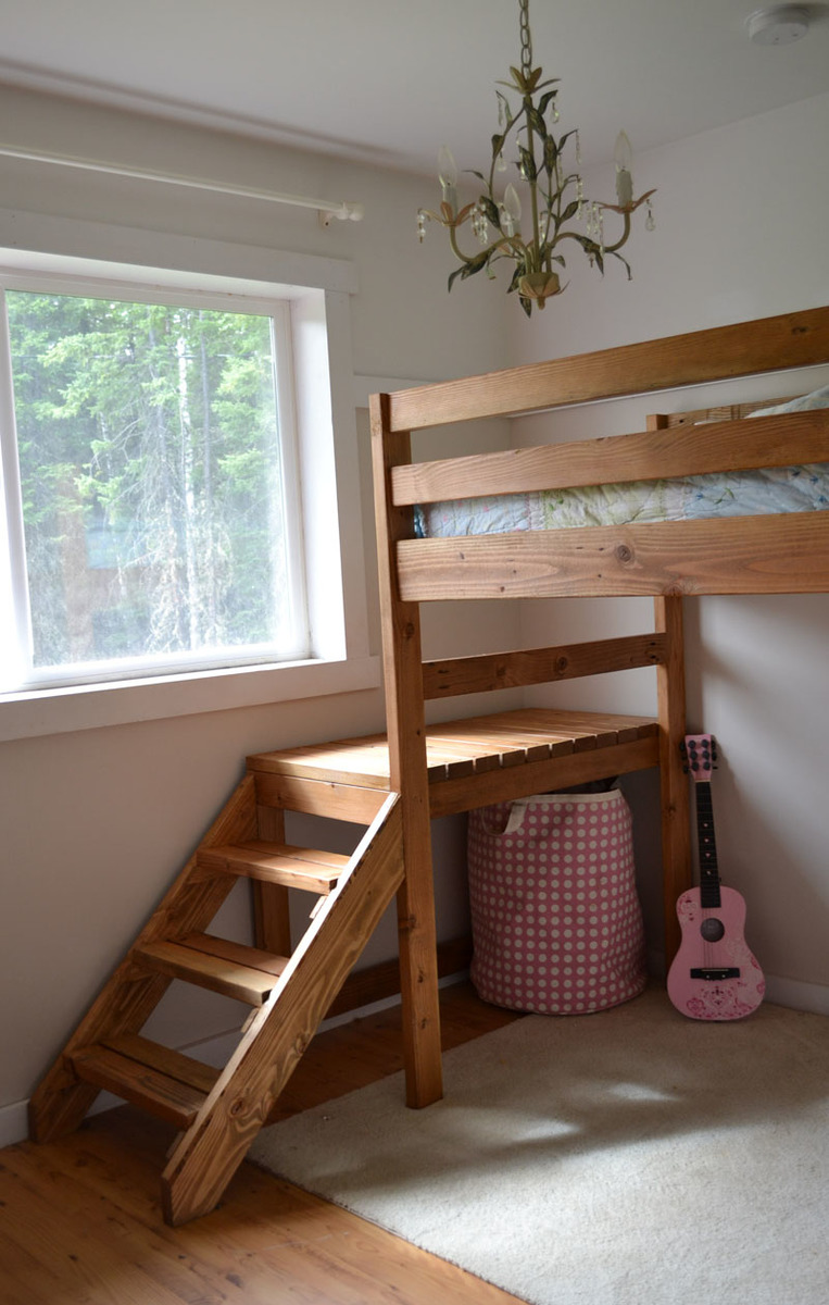 Simple Design Diy Loft Bed With Couch And Desk Bedroom Diy Loft Bed ...