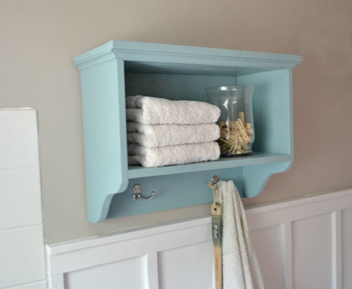Ana White | Martina Bath Wall Storage Shelf with Hooks - DIY Projects