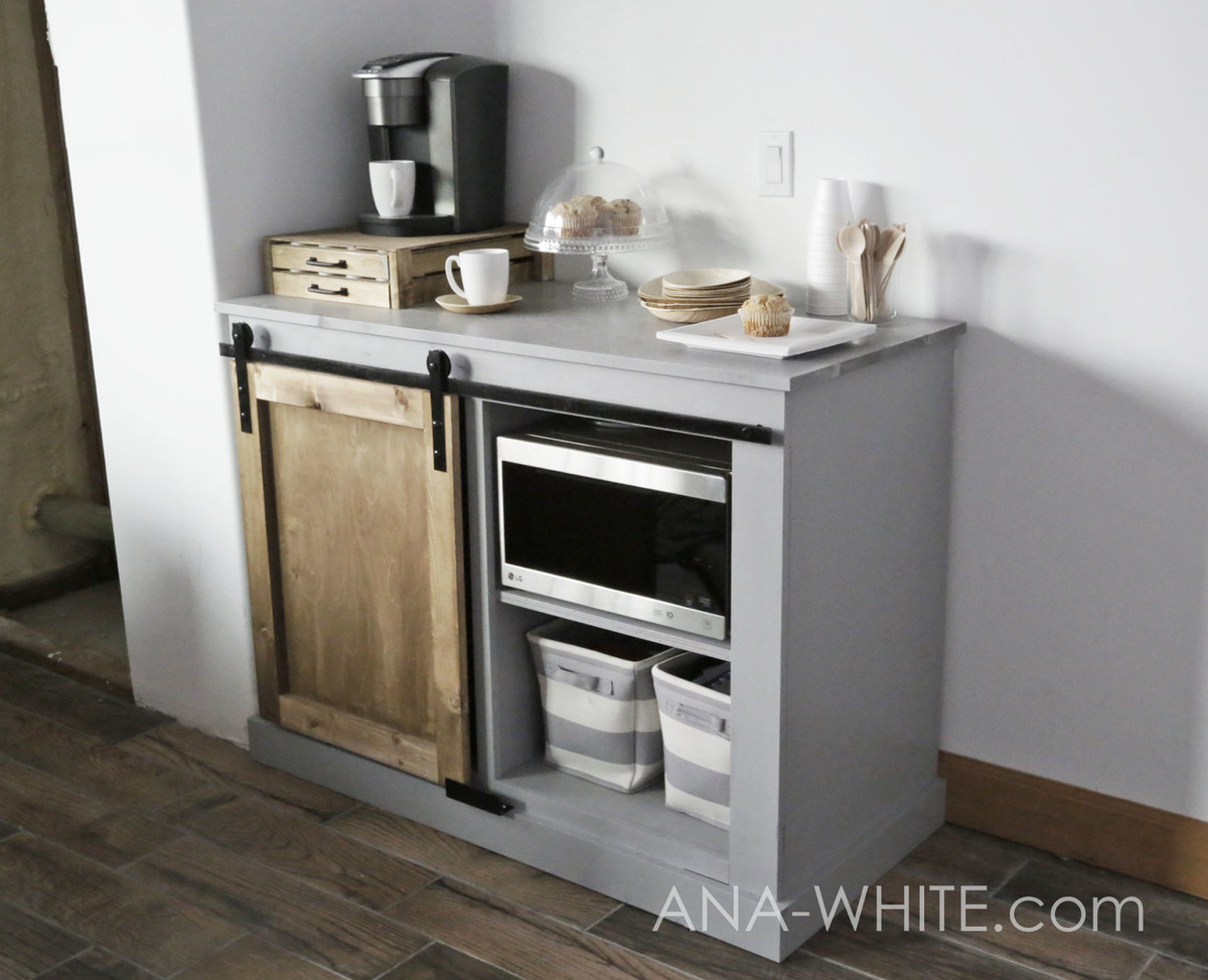 This Barn Door Cabinet Holds A Mini Fridge And Microwave It S Perfect For Dorm Rooms Guest Rec Airbnbs Lobbies Or Break