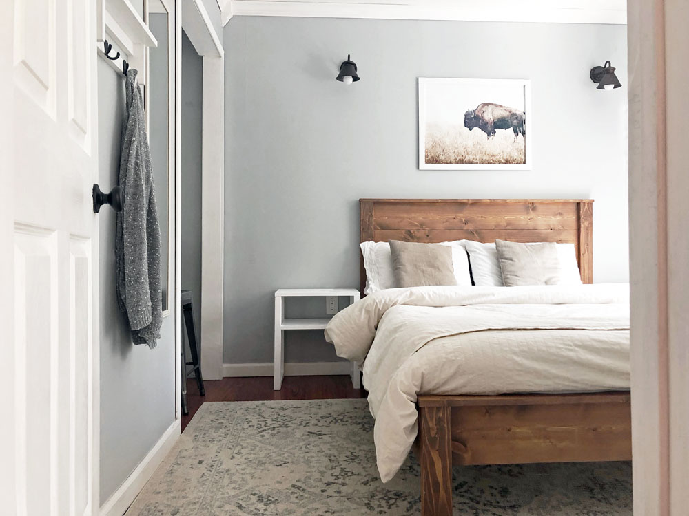 diy bed frame stained wood