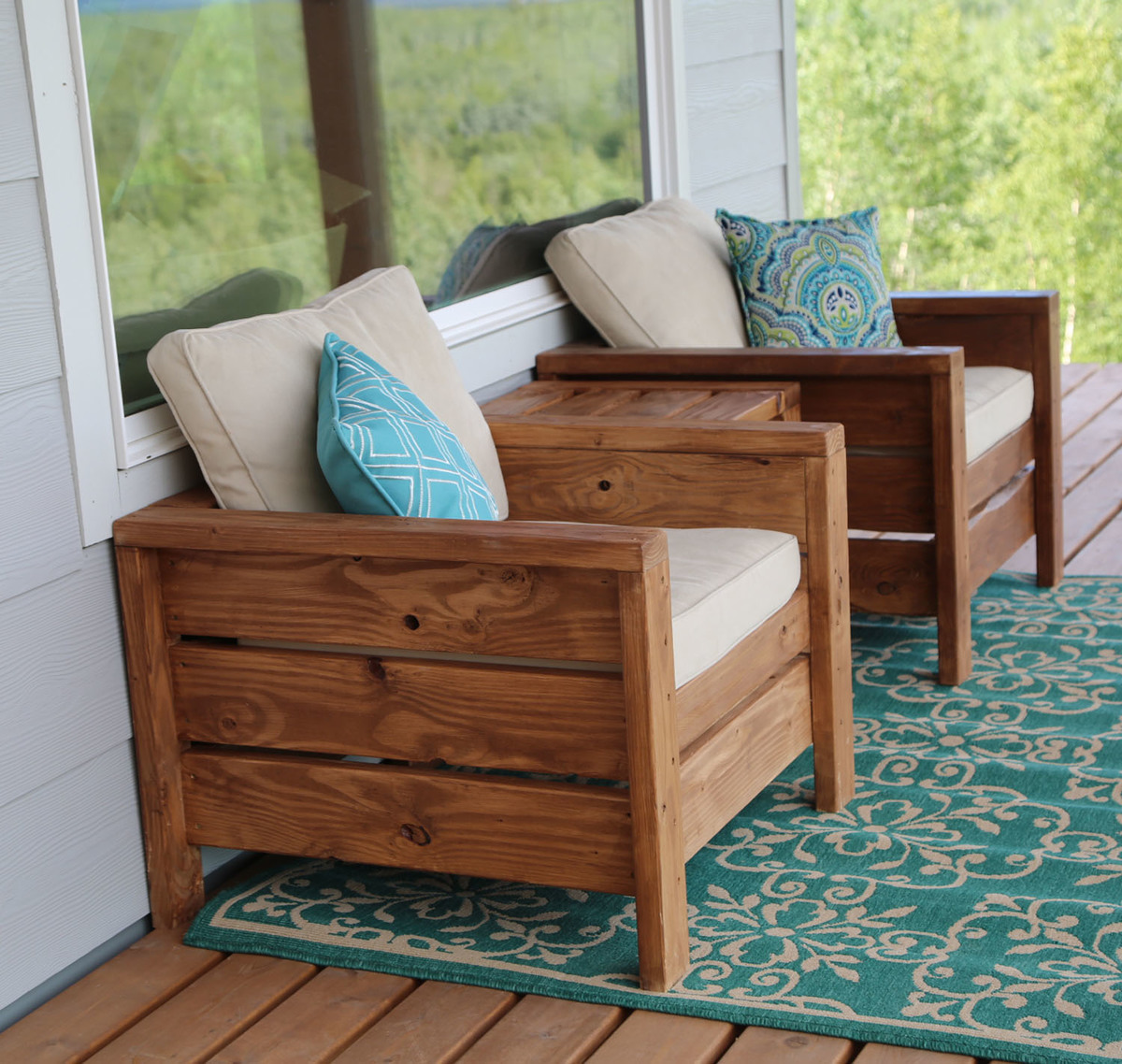 Easy to build sturdy modern outdoor chairs for deck or patio free plans by ana white com