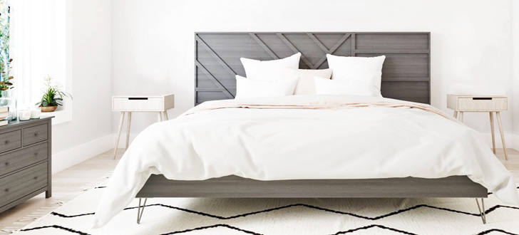 modern platform bed frame with modern geo headboard