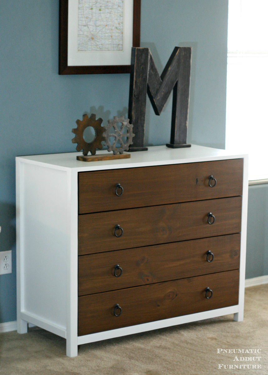 Modern White Dresser With Wood Drawers Ana White
