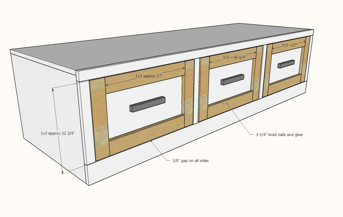 Build The Drawer Face Frames And Attach To Bo With An Even 1 8 Gap On All Sides 4 Brad Nails Glue