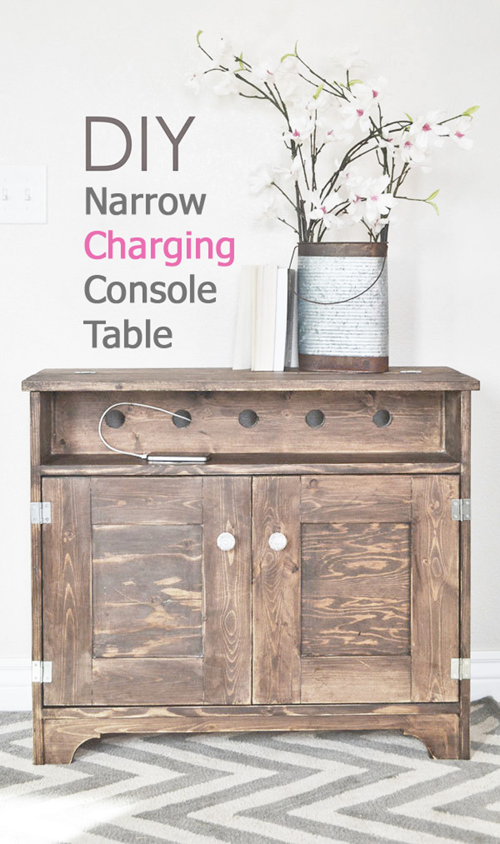 console table with phone charging station