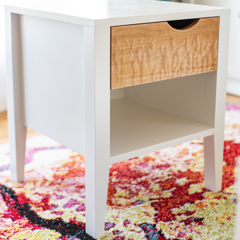 End table with notched drawer