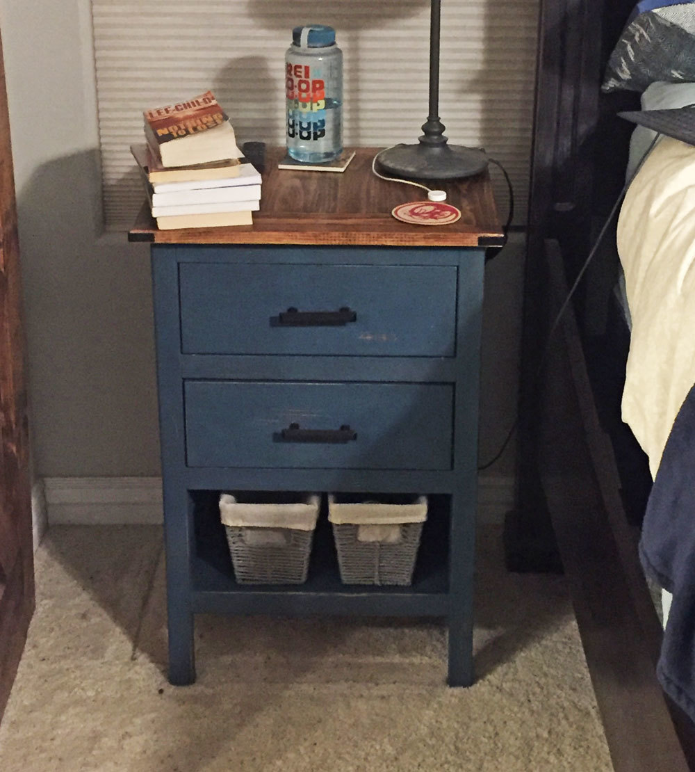 Blue Nightstand With Open Shelf Ana White