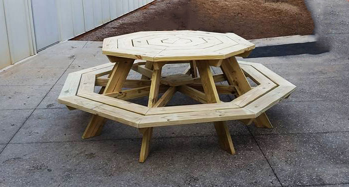 natural wood octagon picnic table