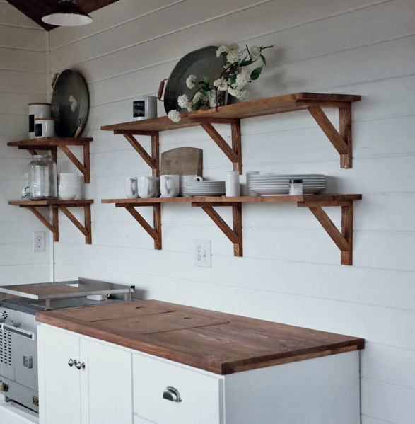 Easy Farmhouse Style DIY Kitchen Open Shelving Wood Stained, Free Plans By  ANA WHITE.com