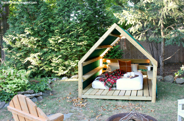 Ana white outdoor cabana backyard retreat diy projects for Garden cabana designs