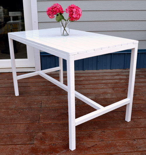 Ana white harriet outdoor dining table for small spaces diy projects Small white dining table