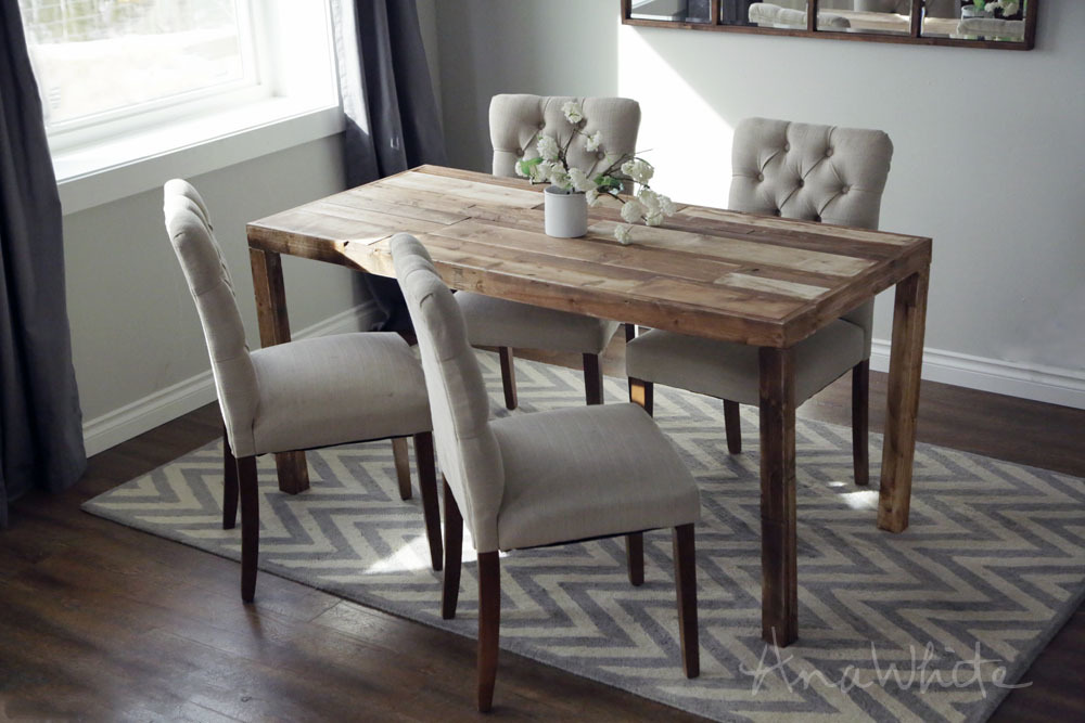 Ana White Emmerson Parsons Table Modern Reclaimed Wood Dining Diy Projects