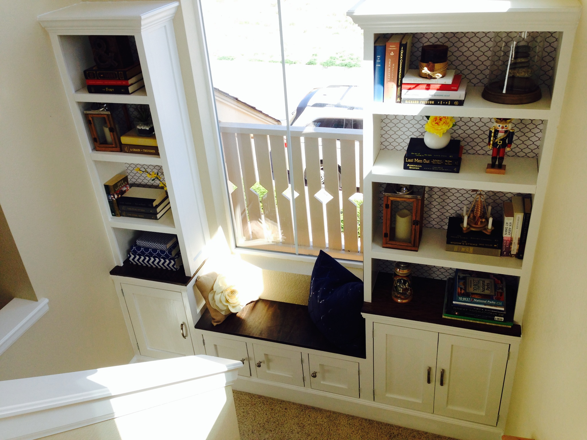 Ana White Stairs Landing Built In Bench Cabinet And