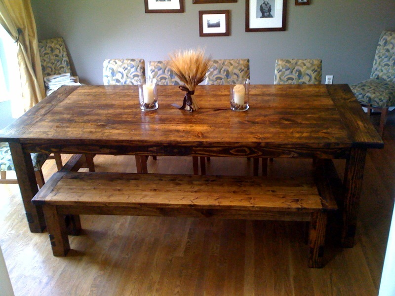 Ana white farmhouse table restoration hardware replica for Kitchen table plans