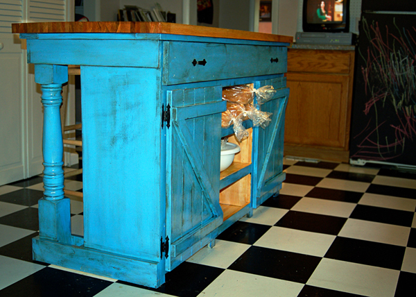 farm style kitchen island. this was inspired because i hate chairs in my kitchen and needed a place to store silpats \u0026 rolling pins. farm style island