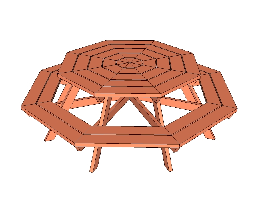 Ana White Octagon Picnic Table DIY Projects - Park picnic table dimensions