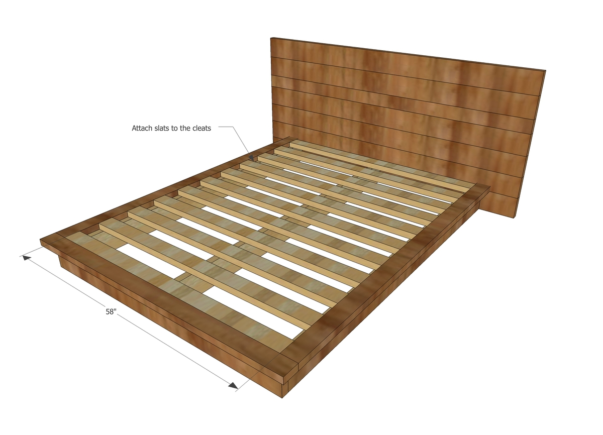 ana white rustic modern 2x6 platform bed diy projects - Wooden Bed Frame Plans