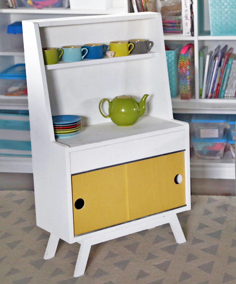Ana White Retro Wood Toy Pretend Play Kitchen Dish Hutch Diy