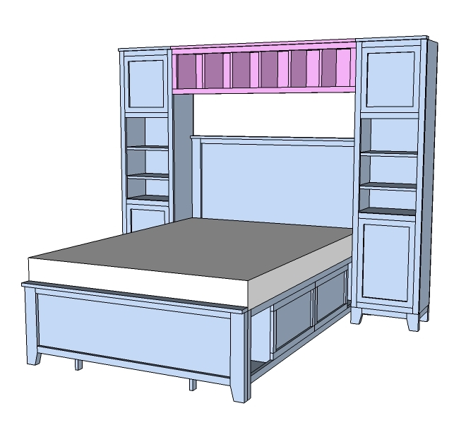 Hailey Hutch For Twin And Full Beds, Ana White Twin Storage Bed